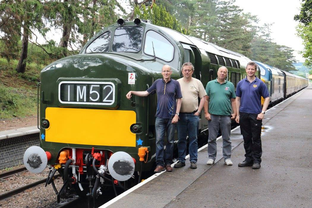 The four owners pose proudly in front of D6948 at Cheltenham Racecourse and reflect on the 5 year project following the successful first loaded test run from Toddington on Sunday 12th June.