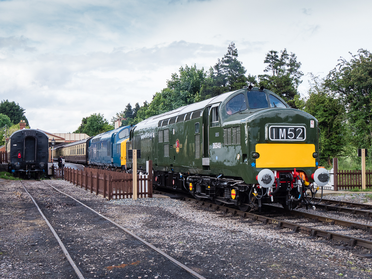 Class 37/0 no.D6948 prepares to leave Toddington with its loaded test run to Cheltenham Racecourse in company with class 37/0 no.37215 on 12th June 2016. 37215 was provided for insurance and additional weight purposes only.
